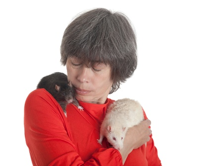 Portrait of the woman with two rats on shoulders Stock Photo - 15327124