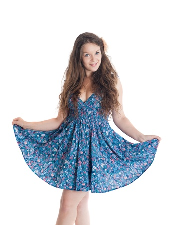 the cheerful girl in a blue dress photo