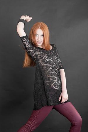 the slim sensual girl in a black dress Stock Photo - 15401905