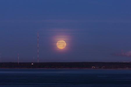 fool moon: The morning fool moon over gulf of Finland