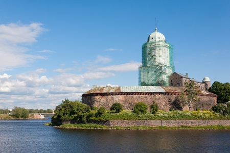 An ancient castle in the city of Vyborg, spring day