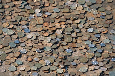 numismatic: Many the russian coins on a metal surface