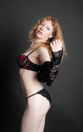 the elegant sensual girl in black underwear photo