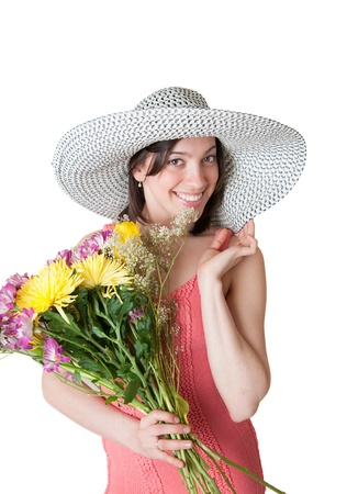 cheerful girl with a big bouquet of flowers photo