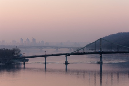 bridges across the Dnieper River at dawn, Kiev photo