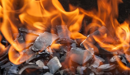 burning wood in a brazier close up photo