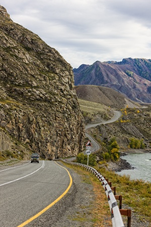winding road in the mountains, Altai, Russia, Siberia photo