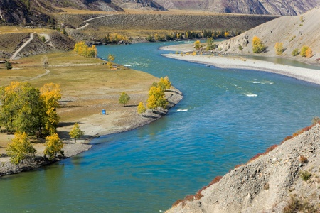 katun: mountain autumn landscape with azure river, Altai, Russia