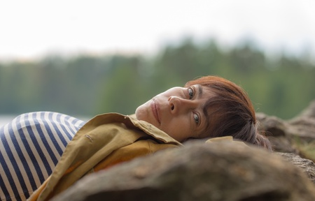 portrait of a pensive woman on vacation Stock Photo - 20785788