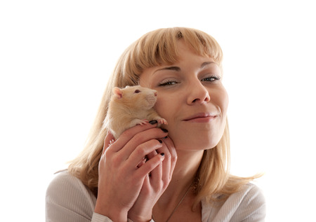 portrait of blond with domestic red rat photo
