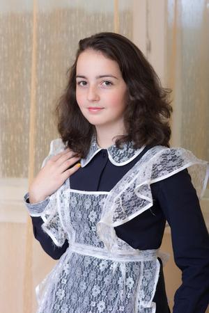 schoolgirl uniform: Portrait of a teenage girl in school uniform