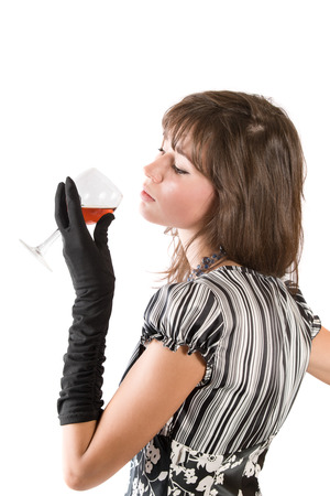 young girl with a wine glass, isolated on white photo