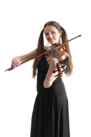 Violinist girl in the image of a cat photo