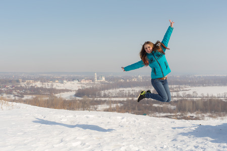 elabuga: teenager girl jumping in winter, Elabuga, Russia