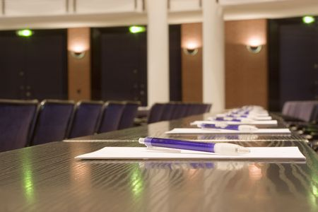Detail of a conference room - focus on the pen Stock Photo - 817585