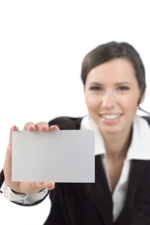 Friendly business woman presenting a white business card. Copy space for your advertisement.