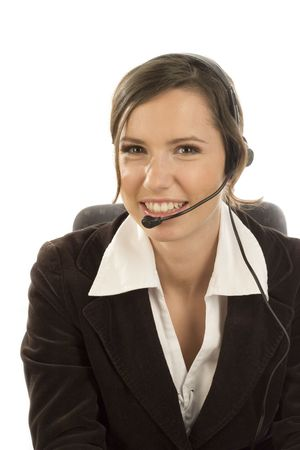 telephone saleswoman: Attractive smiling woman with headset on white backgound Stock Photo