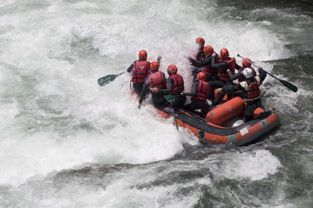 Rafting boat on a whitewater river