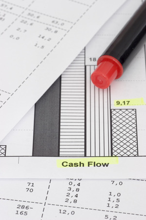 cutback: Business papers and red pencil. Focus on the words cash flow
