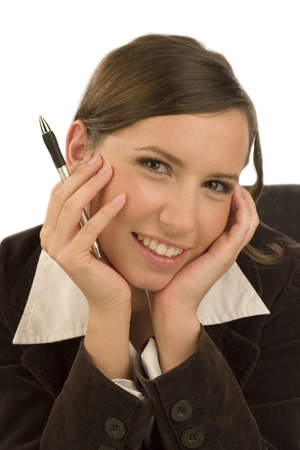 ballpen: Young smiling businesswoman with ballpen in her hand Stock Photo