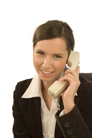 Pretty saleswoman with telephone Stock Photo - 1622779