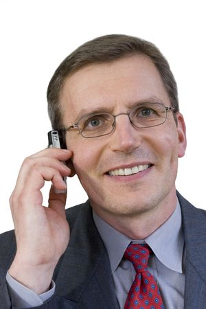 Middle-aged smiling businessman making a phone call Stock Photo - 2796478