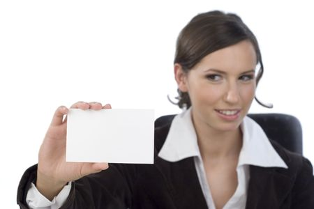 businesscard: Young businesswoman presenting businesscard