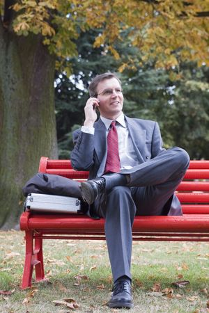 Businessman talking on cell phone while sitting on a red park bench Stock Photo - 3008781