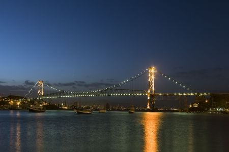 ponte: The bridge Ponte Hercilio Luz in Florianopolis - Santa Catarina - Brazil