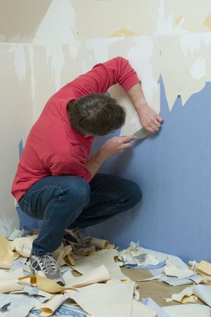 doityourself: Man renovating a room  Stock Photo