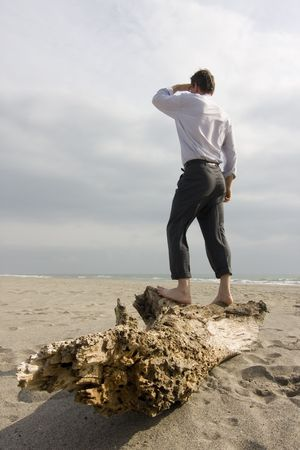 see  visionary: Shipwrecked businessman standing on a tree trunk on a beach