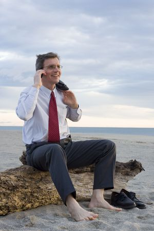 trunk  tree: Smiling businessman hacer una llamada telef�nica en la playa mientras est� sentado en un viejo tronco de �rbol Foto de archivo
