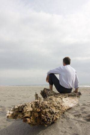 trunk  tree: Hombre de negocios sentado en un tronco de �rbol en una playa Foto de archivo