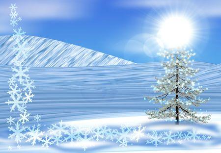 Christmas tree on snow photo