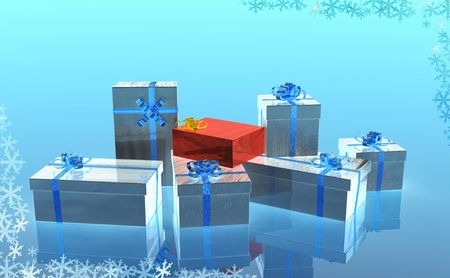 silvered: silvered christmas presents an one red