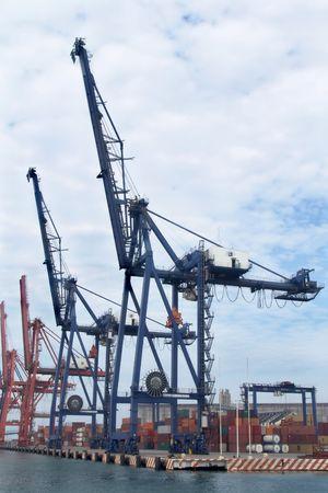 harbor cranes waiting for a ship