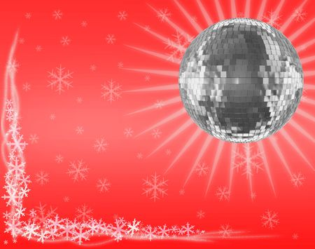 mirrorball: Postal card of Mirrorball on red