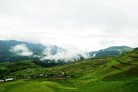 fairyland: the road to Shangri-La, misty like a fairyland, beautiful Stock Photo