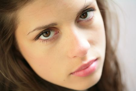 close-up portrait of the beautiful young brunette