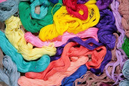 varicoloured: varicoloured silk threads for needlework Stock Photo