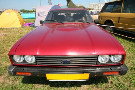 capri: Transport, Vintage Red Sport Car 70s, Editorial Use Only, Ford Capri