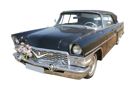 russian car: vintage, old-time luxurious russian car in wedding decoration Stock Photo