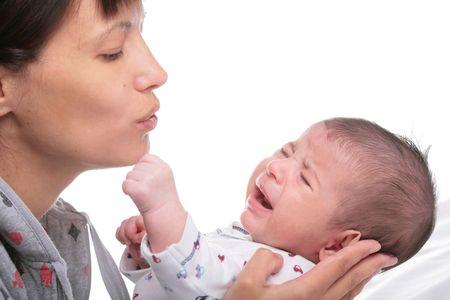 mamma: mamma and little crying boy on white background Stock Photo