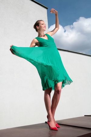 loafer: dancing girl in green gown and red loafer