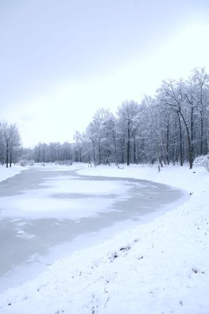 cool winter day in park on pond Stock Photo - 4079629
