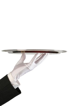 hand of the waiter in white glove with silver dish on white background with copy-space Stock Photo