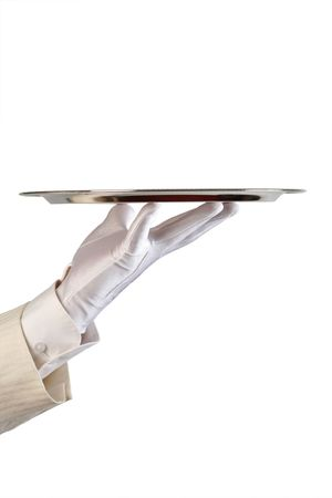 silvery: hand of the waiter in white glove with silver dish on white background with copy-space Stock Photo