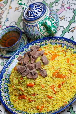Uzbek national food - pilaf with meat
