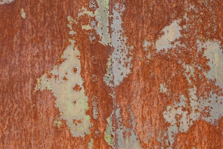 rusty metal surface with the remnants of old paint photo