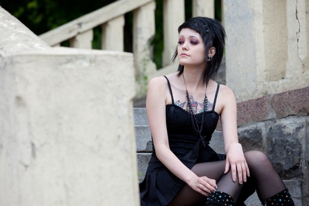 a young girl goth, dressed in black Stock Photo - 13545063